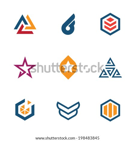 The game of star success business company icon set logo  - stock vector