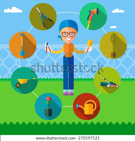 The Garden. Girl holding secateur and scoop. Around there are icons - lawn mower, hedge trimmers, shovel, pruning shears, seedlings, watering can, secateur, watering sprinkler ,wheelbarrow. - stock vector