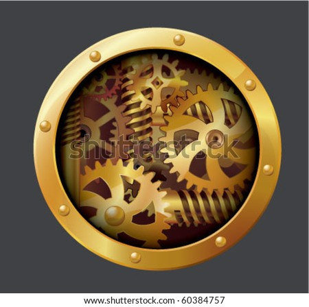 The gears. Through paper hole. Vector. - stock vector