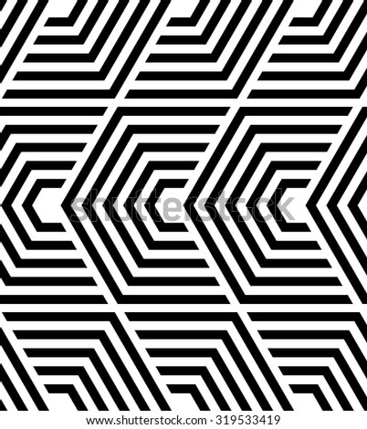 The geometric pattern by lines, hexagons. Seamless vector background. Black and white texture.