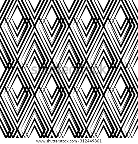 The geometric pattern by rhombuses. Seamless vector background. Black and white texture