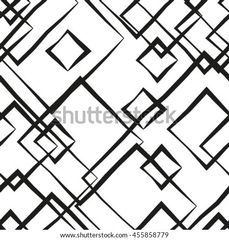 The geometric pattern by stripes, lines, rhombuses. Seamless vector background. Black and white texture - stock vector