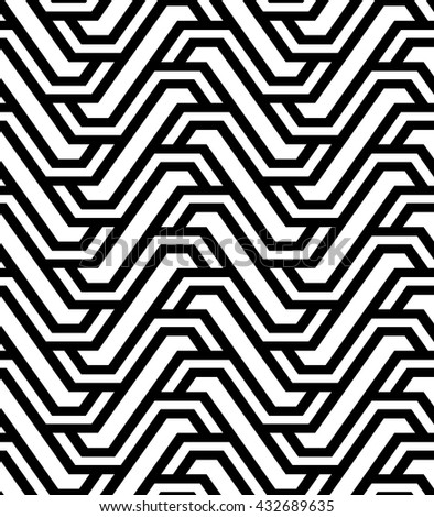 The geometric pattern with stripes. Seamless vector background. Black and white texture.