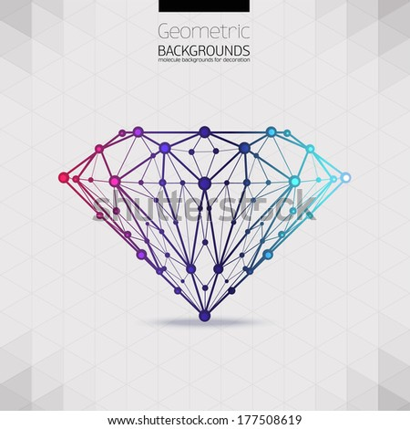 The geometrical shape of the diamond lattice of molecular.Abstract form compounds of the composition and facets of the diamond, forms design background, vector composition of a triangle - stock vector