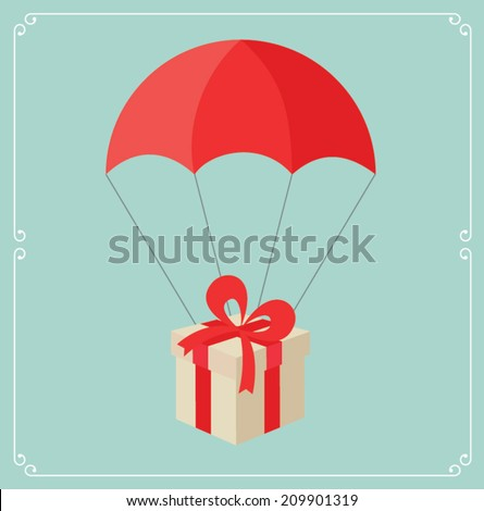 The gift box flying on red parachute. Used linear gradients. Illustration vector - stock vector