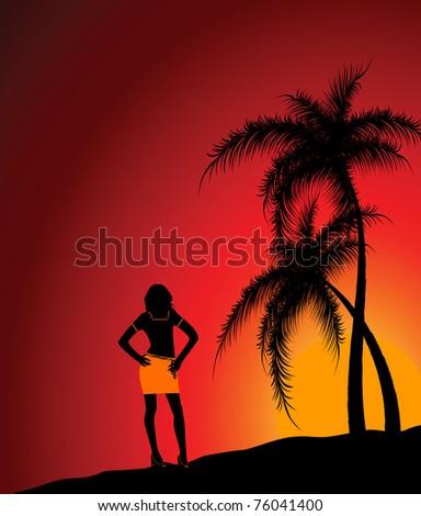 The girl against a beach and a decline. Vector illustration - stock vector