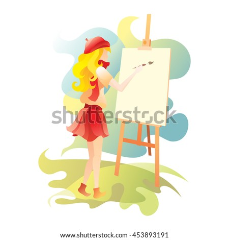 The girl draws a picture