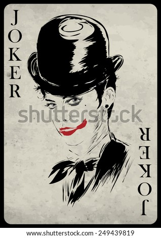 The girl in retro style. Playing card. Poker. Casino - stock vector