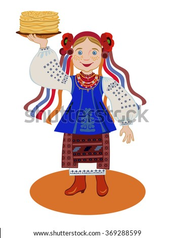 The girl in the Ukrainian national costume (Kyiv region) is holding a plate of pancakes. Congratulations to the Pancake week - stock vector