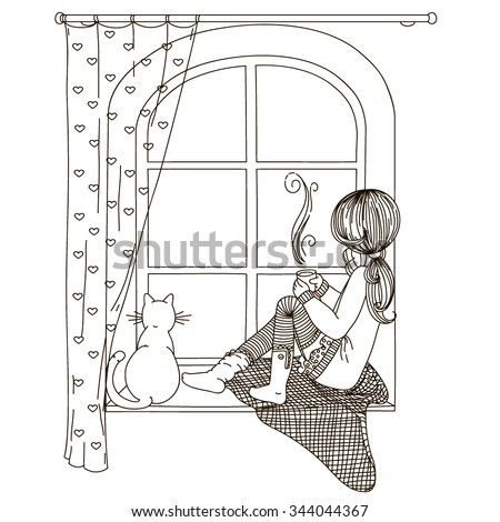 Girl sitting on windowsill looking out stock vector 344044367 the girl is sitting on the windowsill looking out the window with the cat in thecheapjerseys Image collections