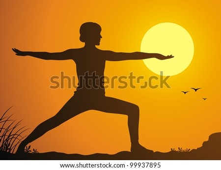 The girl practices yoga against a sunset - stock vector