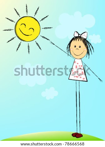 The girl reaches for the sun - stock vector