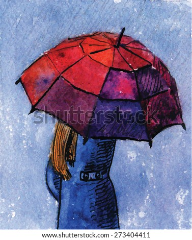 The girl under an umbrella in a raincoat. Overcast sky and rain. Vector Illustration in watercolor technique with ink. - stock vector