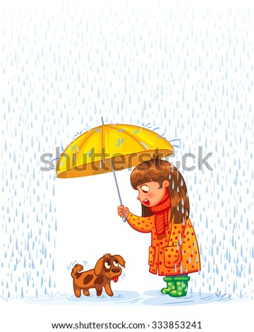 The girl under an umbrella with a small homeless puppy. Protect pet from autumn rain. Funny cartoon character. Vector illustration. Isolated on white background - stock vector