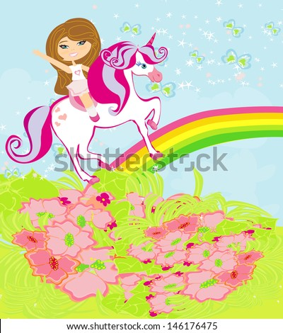 The girl who goes on the sky on a winged unicorn  - stock vector