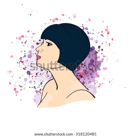 The girl with a bob haircut on watercolor background. Stock vector.  - stock vector