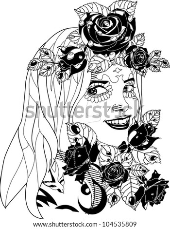 the girl with roses - stock vector