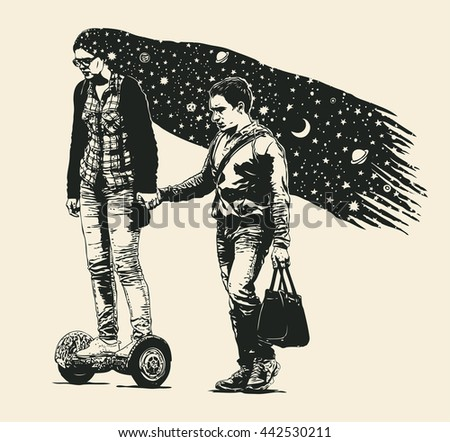 The Girl With The Stars In Your Hair On Self-Balancing Scooter And Her Boyfriend. Vector Illustration