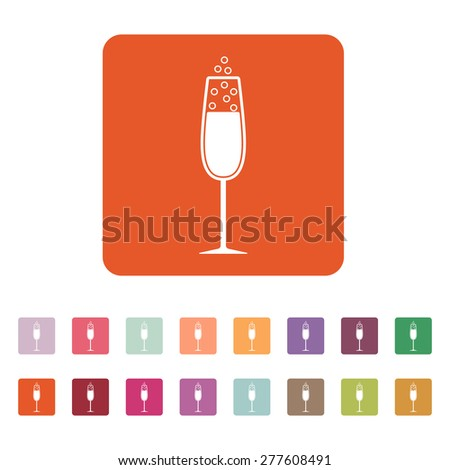 The glass of champagne icon. Wine symbol. Flat Vector illustration. Button Set - stock vector