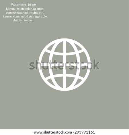 The globe icon. Globe symbol. Flat Vector illustration - stock vector