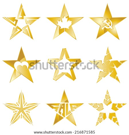 The Gold stars original vector collection on white background. Corporate logo template - stock vector