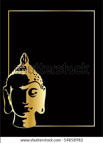 the gold vector buddha on black background - stock vector