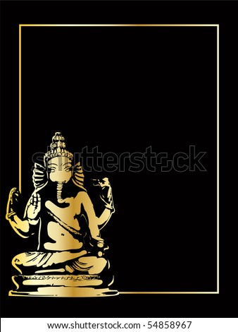 the gold vector ganesha statue eps 8