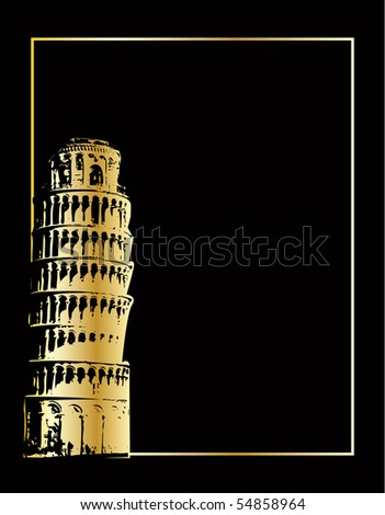the gold vector pisa tower on black eps 8 - stock vector