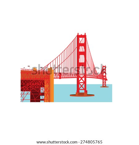 The Golden Gate Bridge is a suspension bridge spanning the Golden Gate strait, the mile-wide, three-mile-long channel between San Francisco Bay and the Pacific Ocean. (Land mark USA) - stock vector
