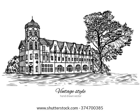 The Gostiny Dvor, Svetlogorsk, Landmark of the Kaliningrad region, Russia, Vector hand drawn doodle sketch isolated on white background, Postcard drawing template with european house - stock vector