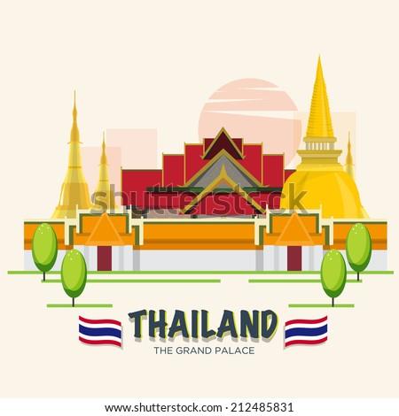 The Grand Palace. landmark of Bangkok, Thailand. ASEAN SET - vector illustration - stock vector