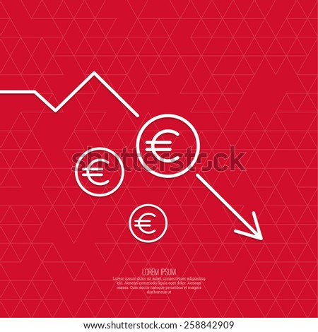 The graph shows the fall and profits decline. Loss of points Currency. Falling through asset outflows. Red background. euro symbol. minimal. Outline. - stock vector