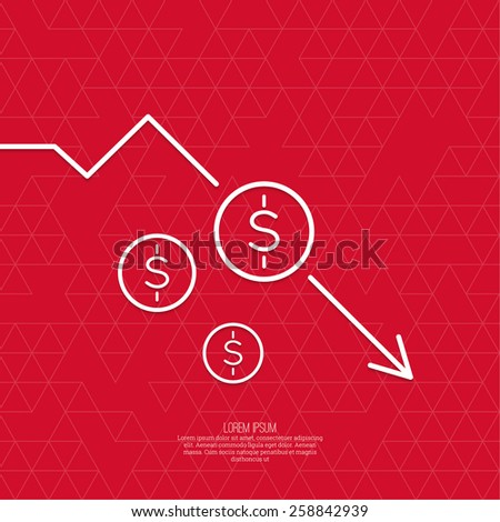The graph shows the fall and profits decline. Loss of points Currency. Falling through asset outflows. Red background. dollar symbol. minimal. Outline. - stock vector