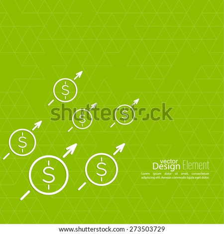 The graph shows the growth and profit. Income from a successful investment. Bank asset growth through profitable investments. green background. dollar sign - stock vector