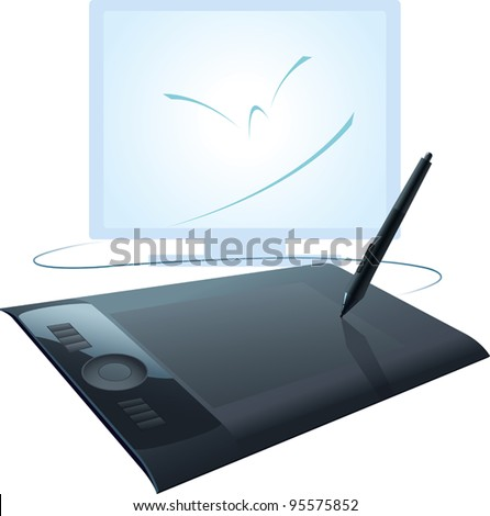 The graphics tablet, the necessary tool for creative people. vector illustration. - stock vector