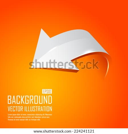 The gray 3d arrow on an orange background. Vector illustration - stock vector
