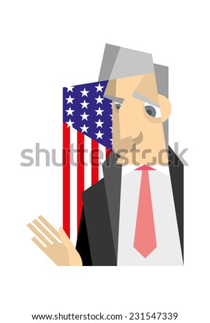 The gray-haired man in a black jacket and shirt standing against the background of the American flag