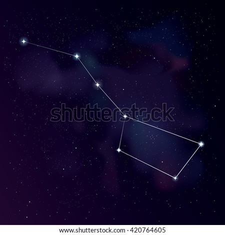 The Great Bear (with lines) constellation. Star background with Big Dipper constellation. Starry wallpaper. Illustration of Ursa Major constellation for your project. Stock vector. - stock vector