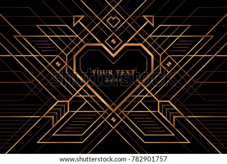 Great gatsby deco style vector gold stock photo photo vector the great gatsby deco style vector gold heart frame wedding invitation invite card stopboris Image collections