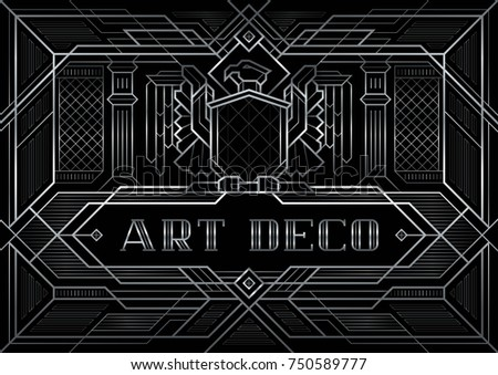 Great gatsby deco style vector silver stock vector 750589777 the great gatsby deco style vector silver eagle with wings spread abstract geometric patterned stopboris Image collections