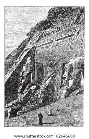 The Great Temple at Abu Simbel in Egypt, during the 1890s, vintage engraving. Old engraved illustration of Great Temple at Abu Simbel with guard in front.  Trousset encyclopedia (1886 - 1891).