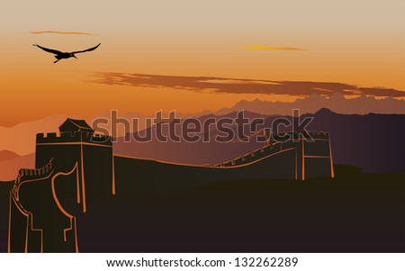 The Great Wall of China at sunset - stock vector