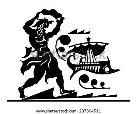 The Greek background with the person going along the sea with the floating ship - stock vector