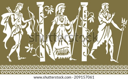 The Greek background with three people near colon - stock vector