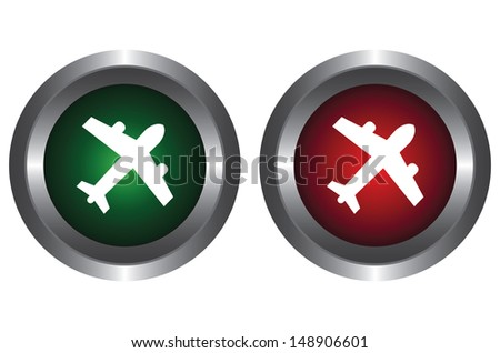 The green and red button on a white background