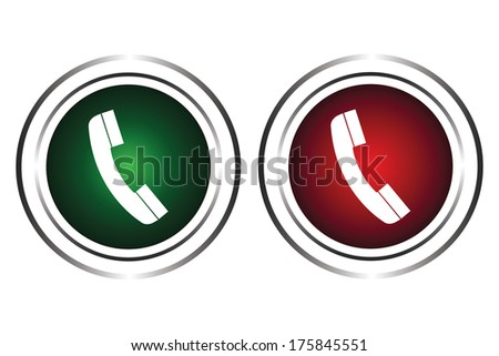 The green and red button on a white background - stock vector