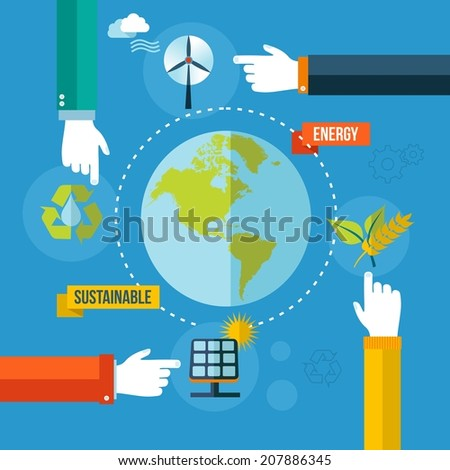 The green Earth. Environment and sustainable development illustration background. EPS10 vector file organized in layers for easy editing. - stock vector