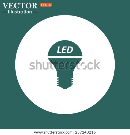 The green icon on a white circle on a green background. LED lamp , vector illustration, EPS 10 - stock vector
