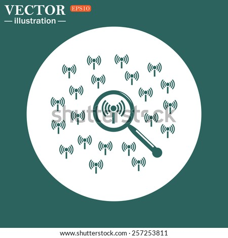 The green icon on a white circle on a green background. Search wi-fi network , vector illustration, EPS 10 - stock vector
