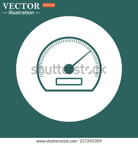 The green icon on a white circle on a green background. speedometer. Vector illustration EPS 10  - stock vector